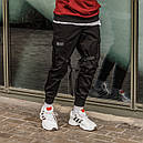 Зауженные карго штаны (джоггеры) с лямками черные мужские от бренда ТУР Ёсимицу (Yoshimitsu), фото 3