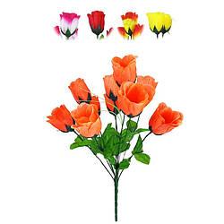 """Букет искусственный """"Роза""""на 10 голов 460 мм  цвета микс"""