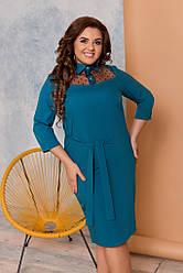 Женское платье ровное с вставкой из сетки, размеры 48-62 морволна