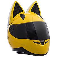 Мото Кото шлем с ушками женский (ABS, размер L, желтый)