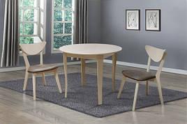 Обідній стіл круглий для маленької кухні Омега Модуль Люкс,бежевий