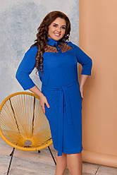 Женское платье ровное с вставкой из сетки, размеры 48-62 синее