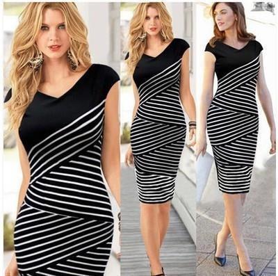 Чёрно-белое полосатое платье L
