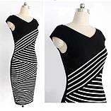 Чёрно-белое полосатое платье L, фото 2