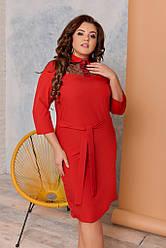 Женское платье ровное с вставкой из сетки, размеры 48-62 красное