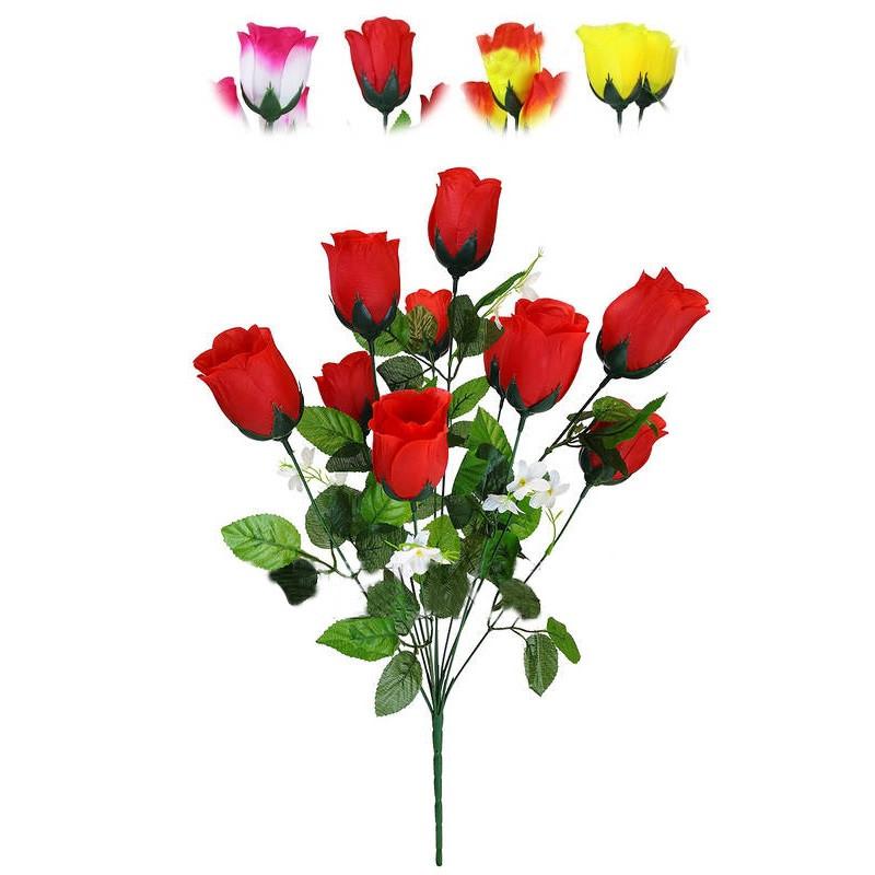 """Букет штучний """"Троянда""""на 10 голів 530 мм кольори мікс"""