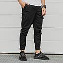 Зауженные карго штаны черные мужские с липучками от бренда ТУР Симбиот (Symbiote) размер S, M, L, XL, XXL, фото 2