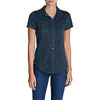 Рубашка Eddie Bauer Womens Ravenna Short-Sleeve Button-Front Shirt DUSTED INDIGO S Темно-синий 50, КОД: 1232489