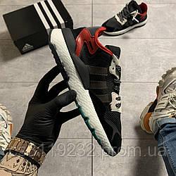 Мужские кроссовки Adidas Nite Jogger Black Red (черно-красные)