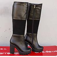 Высокие кожаные сапоги на каблуке, фото 1