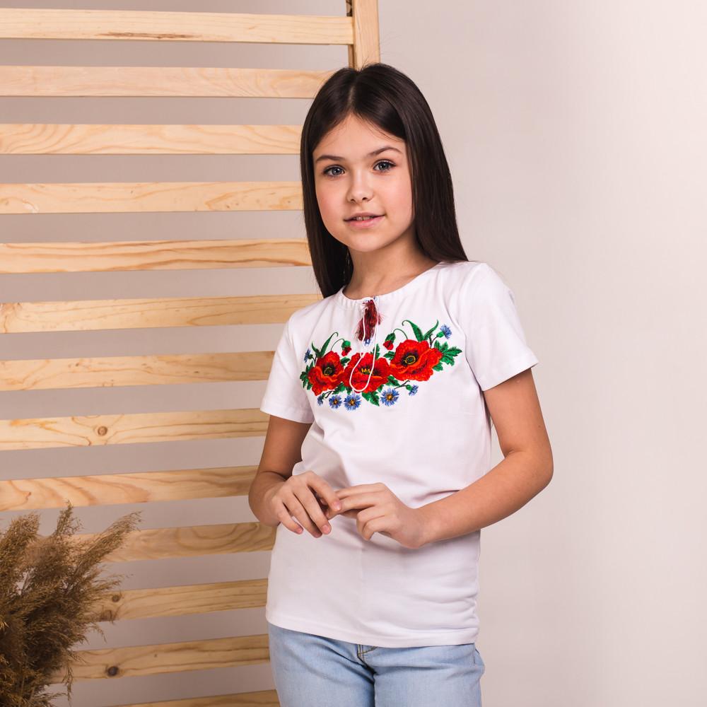 Вишиванка-футболка Moderika Макове Поле біла з вишивкою