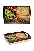 Поднос на подушке для завтрака с ручками BST 4833 коричнево-бежевый Запах кофе 040062, КОД: 1404150