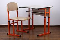 Комплект стол парта +стул ученический 1-местный антисколиозный  регулируемый по высоте №4-6