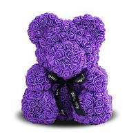 Мягкая игрушка Мишка из роз Bear Flowers Purpule 27 см + подарочная коробка hubJnmD51650, КОД: 1268858