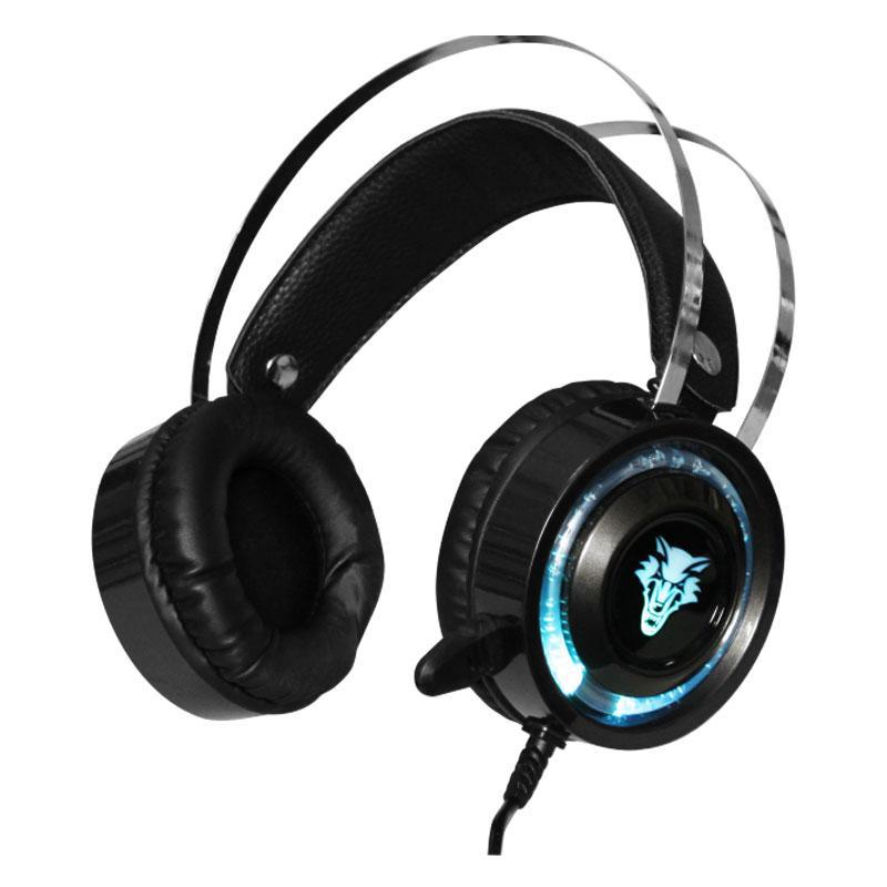 Игровые наушники JEDEL GH183 с микрофоном и подсветкой Black геймерская гарнитура