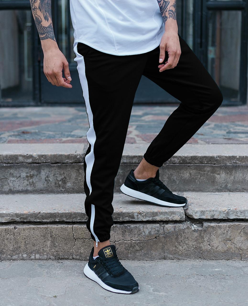 Спортивные штаны черные с белой полоской (лампасом) мужские бренд ТУР модель Рокки (Rocky) TУRWEAR