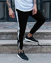 Спортивные штаны черные с белой полоской (лампасом) мужские бренд ТУР модель Рокки (Rocky)
