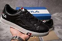 Мужские кроссовки Fila в стиле Фила, натуральная кожа, текстиль код DO-14942. Черные