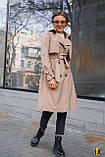Плащ-тренч брендовий жіночий Domenica стильний двобортний (бежевий, р. S-XL), фото 3