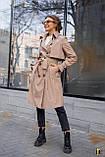 Плащ-тренч брендовий жіночий Domenica стильний двобортний (бежевий, р. S-XL), фото 2