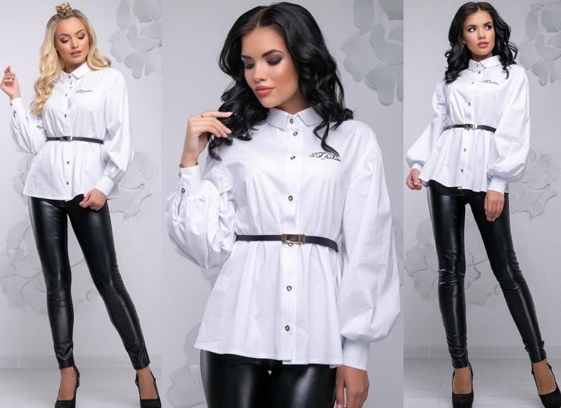 Женская блуза из ткани стрейч-коттон              ST-1031-а