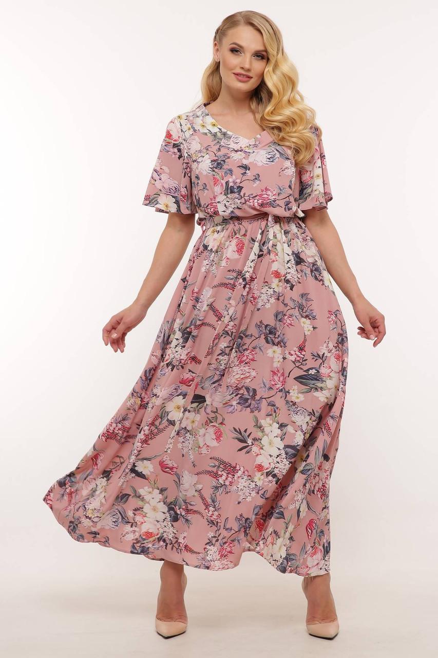 Летнее длинное платье АНИС 3 цвета (54-60)