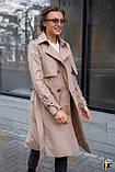 Плащ-тренч брендовий жіночий Domenica стильний двобортний (бежевий, р. S-XL), фото 4