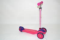 Самокат трехколесный 591 розовый, фото 1