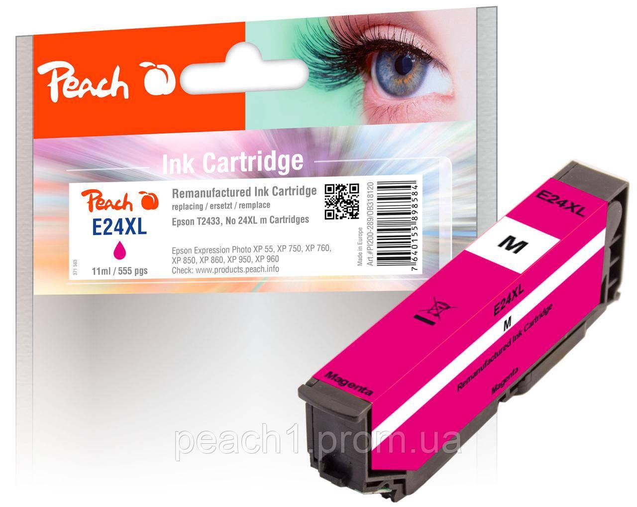 Картридж струменевий, рожевий (Пурпурний/Magenta) Epson T2433, No 24XL з оригінальним чіпом.