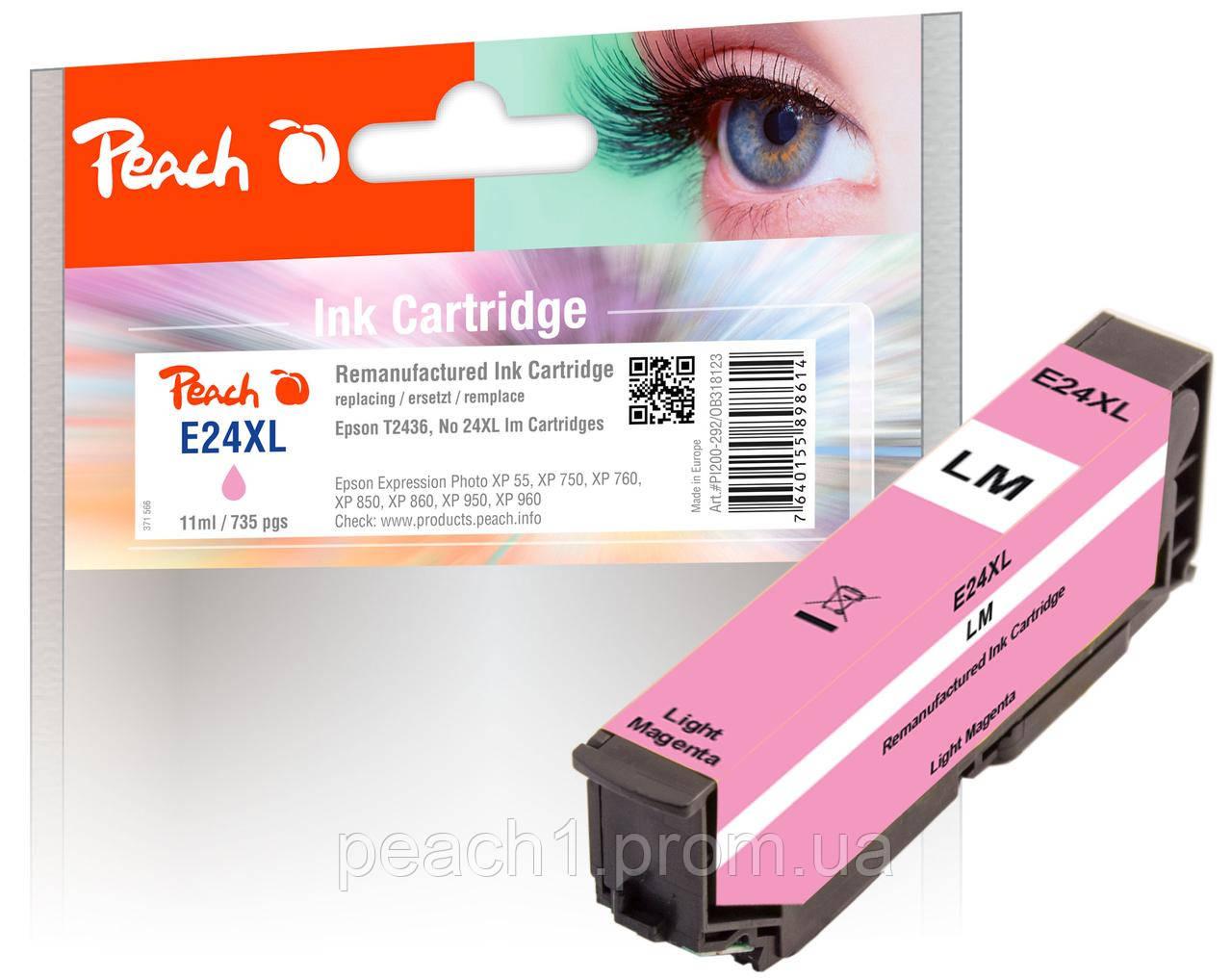 Картридж струменевий, фото рожевий (Photo Magenta), Epson T2436, No 24XL з оригінальним чіпом.