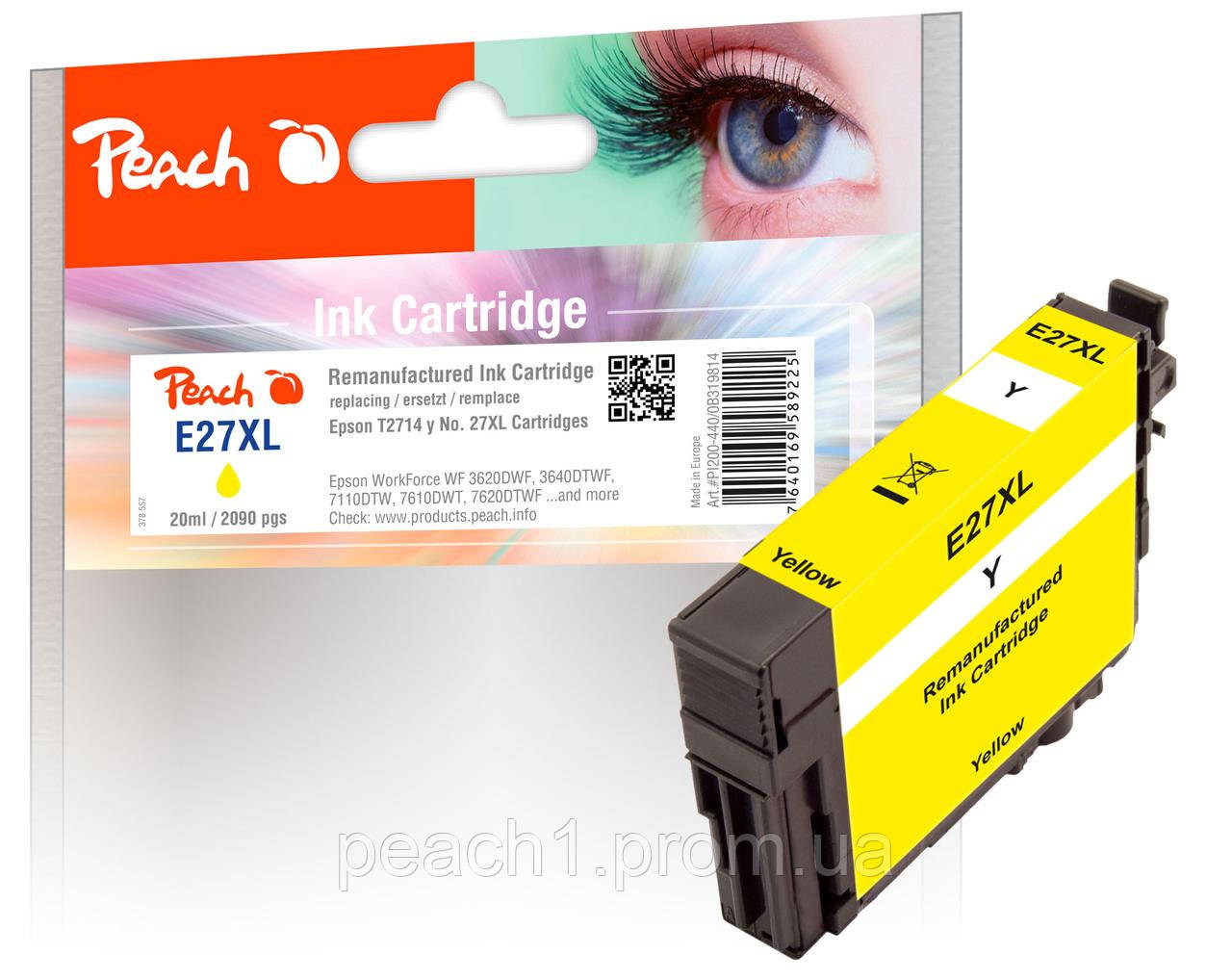 Картридж струйный, желтый (Yellow), Epson T2714, No 27XL с оригинальным чипом.