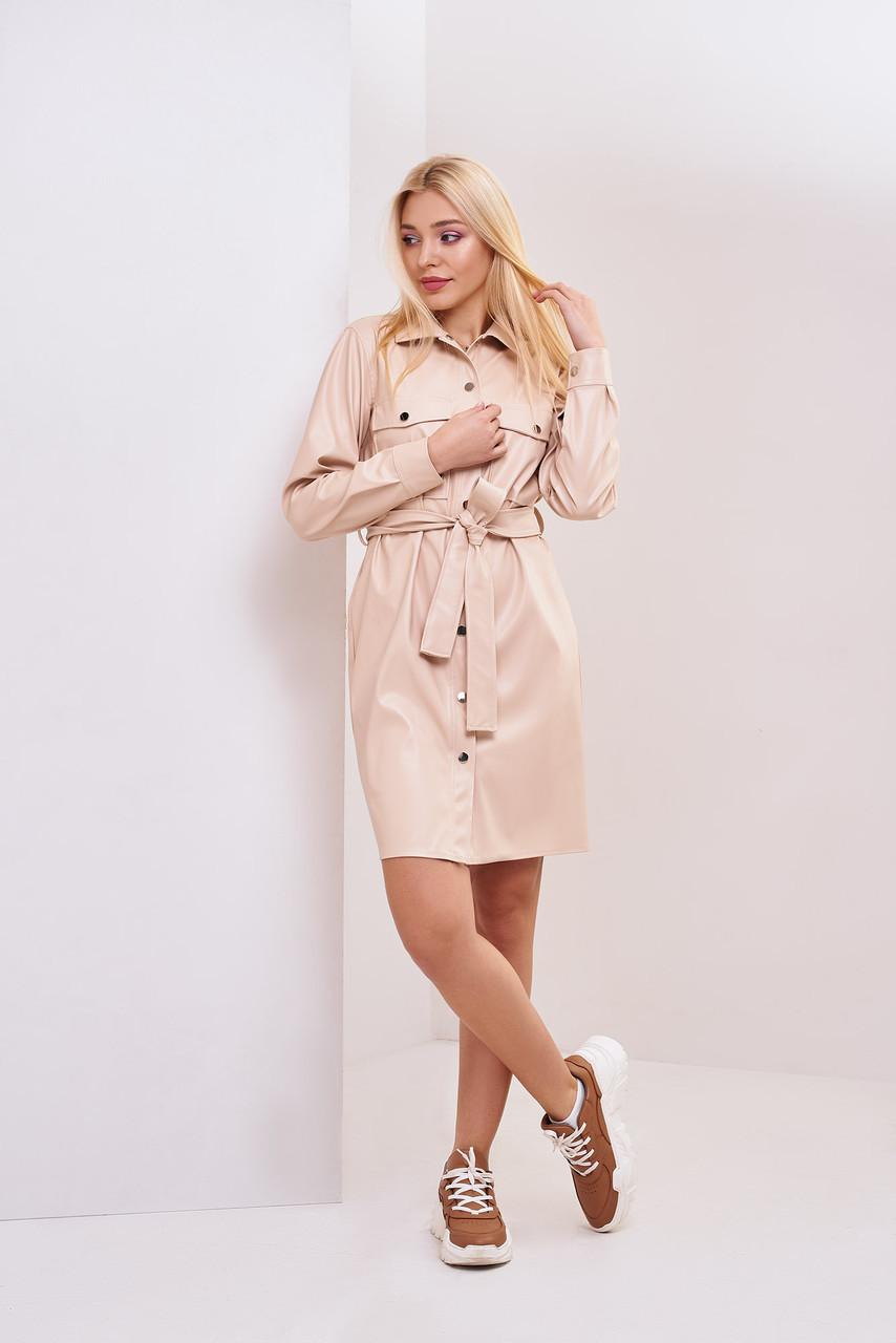 Платье-рубашка с экокожи Весна 2020