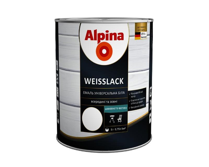 Емаль алкідно-уретанова ALPINA WEISSLACK БІЛОРУСЬ універсальна шовковисто-матова, 0.75 л