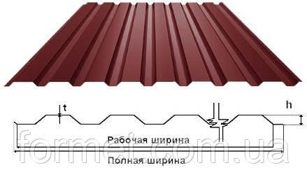 Профнастил 20  0,45*1160/1125*2,5м полимер (коричневый) кровельный Китай