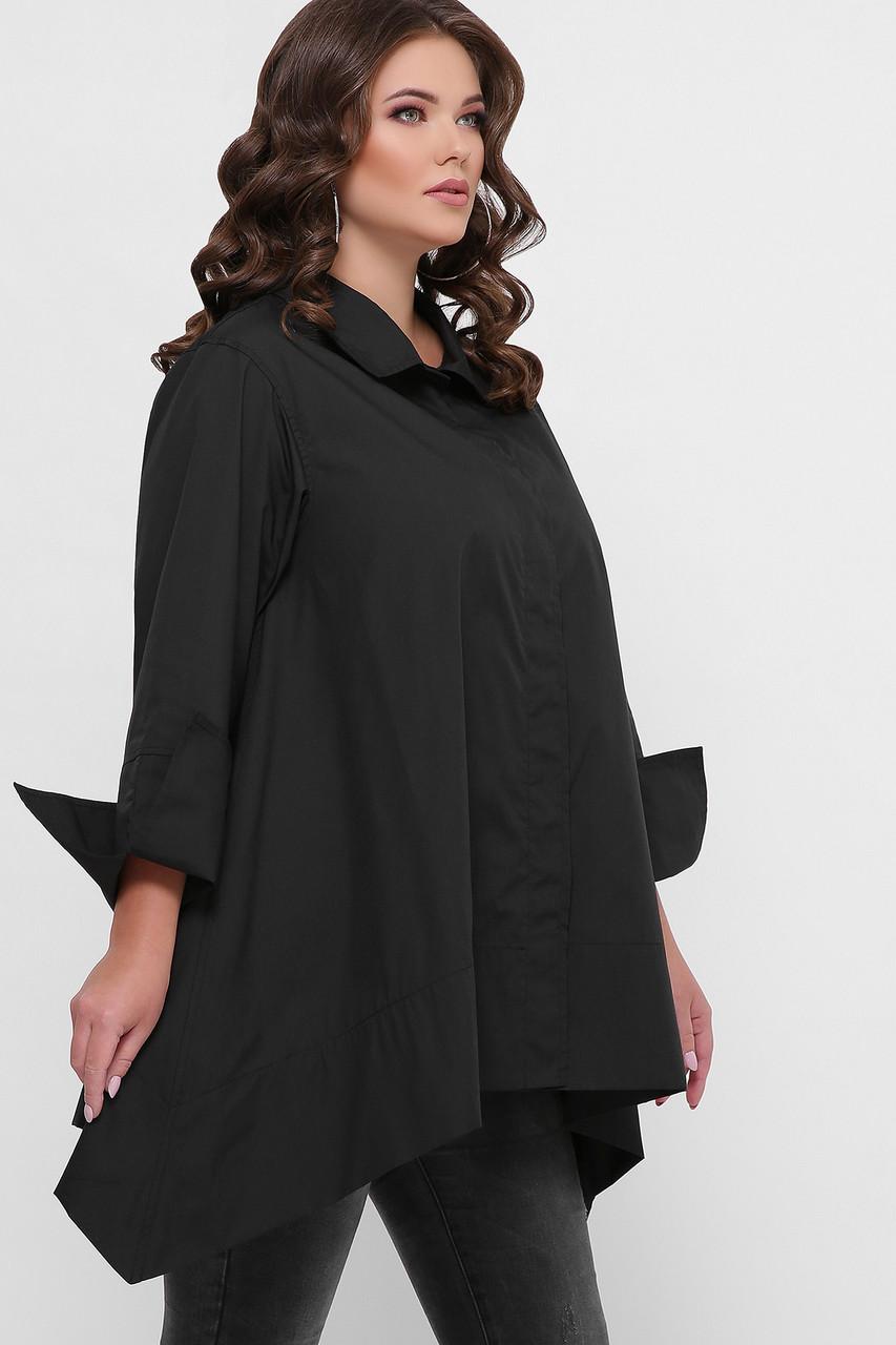 Женская чёрная хлопковая рубашка свободная, асимметричная, батал