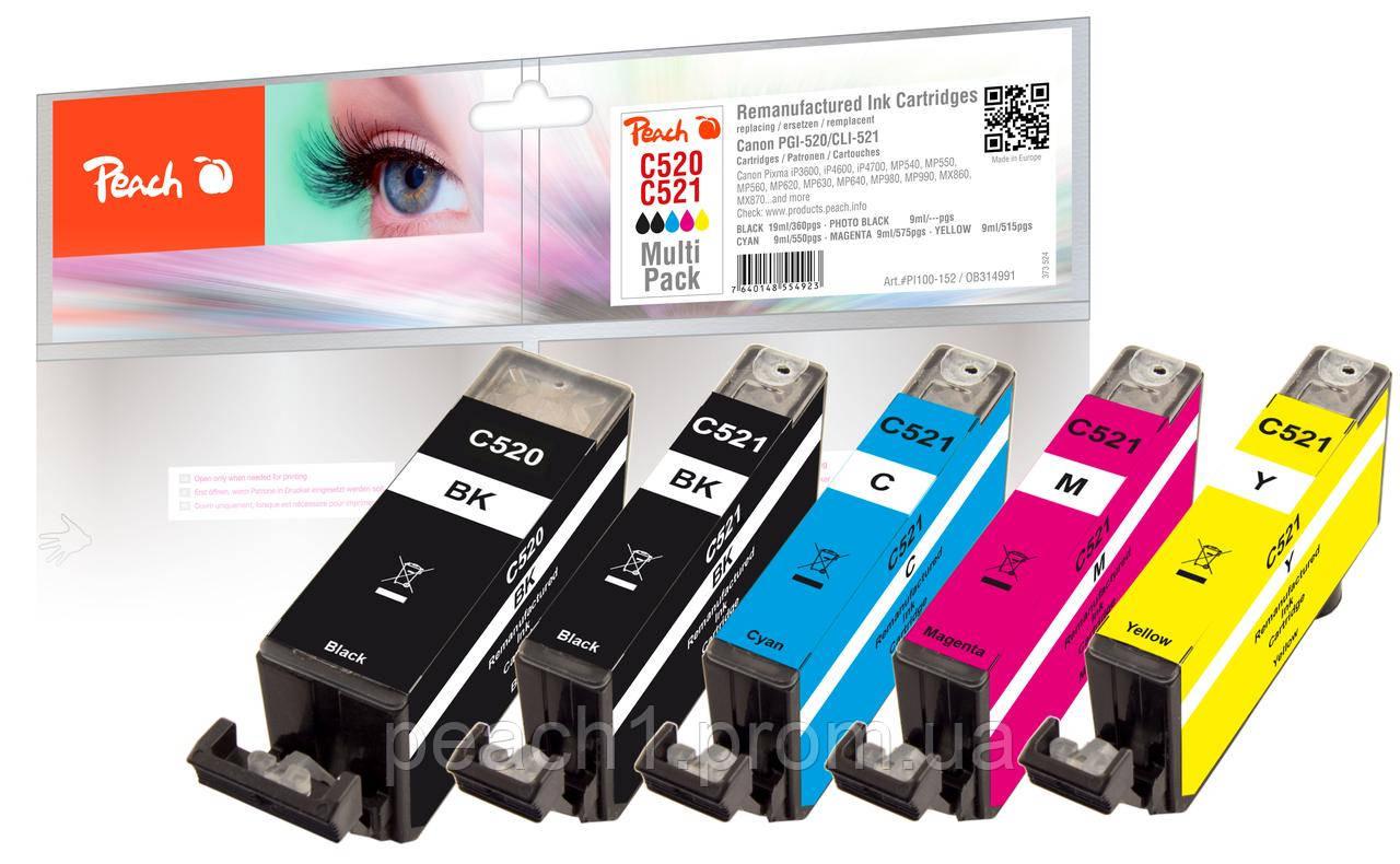 Набор картриджей (MultiPack) (BK,PBK,C,M,Y) Canon PGI 520/CLI 521  с оригинальным чипом.