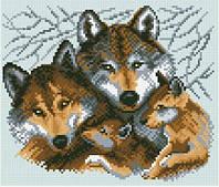Алмазная живопись Семья волков, размер 27*23 см, забивка полная, стразы квадратные