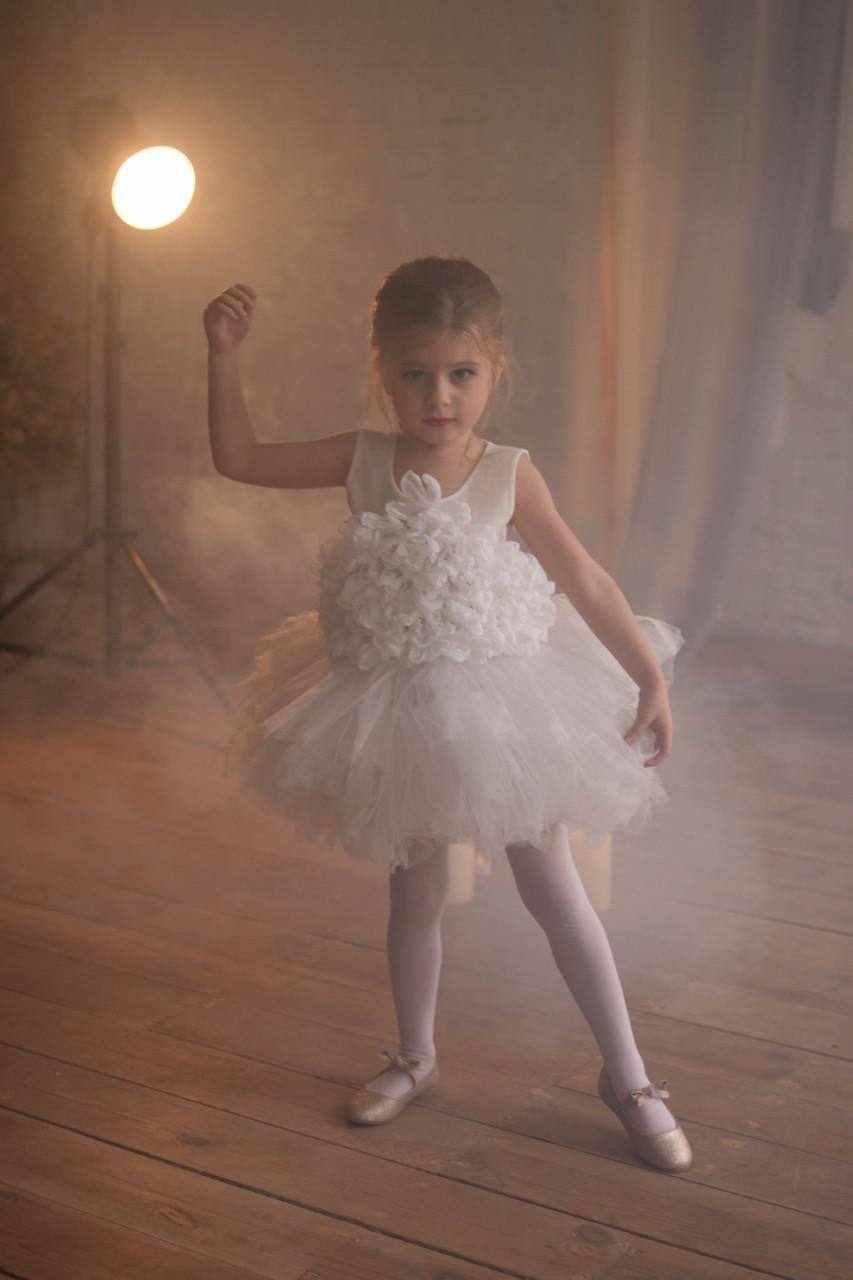 Нарядное платье для девочки BAEL Украина ПАВЛИН Молочный 140