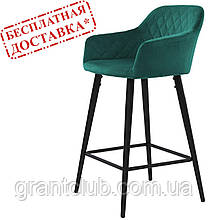 Полубарный стул ANTIBA велюр зелёный азур (бесплатная доставка)