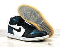 Кроссовки баскетбольные Nike Air Jordan Retro в стиле Найк Джордан, кожа код 4S-1186.Черно-белые с голубым