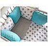 """Комплект постельных принадлежностей в кроватку (17 предм.)""""Дилли"""" (белый/серый/бирюзовый) ТМ """"Хатка"""""""
