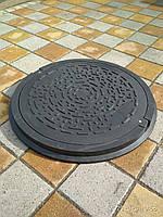 Канализационный люк полимерпесчаный садовый черный с замком, фото 1