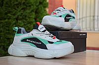 Кроссовки Balenciaga Triple S женские, серый/зеленый, в стиле Баленсиага Трипл С, замш, текстиль, код: OD-2895