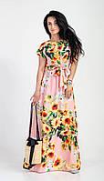 Длинный модный летний сарафан в пол, красивое нежное платье с подсолнухами.