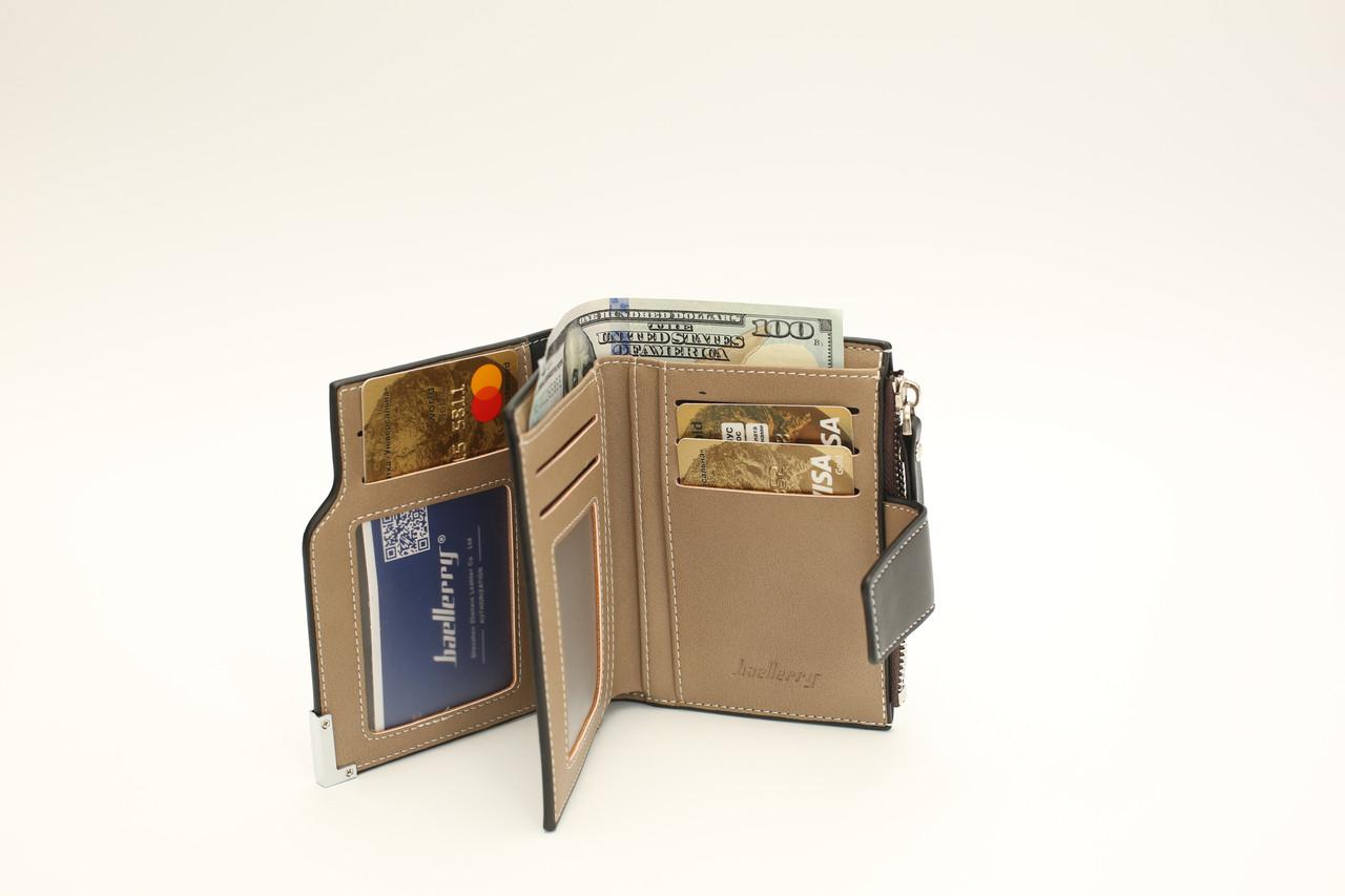 Мужской кошелек Портмоне с монетницей стильный удобный Baellerry D1282 Черный