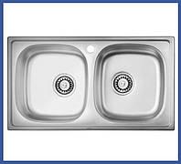 Двойная мойка для кухни из нержавейки ULA 5104 Satin (ULA5104SAT08) прямоугольная врезная
