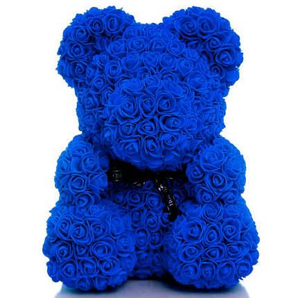 Мишка из 3D роз высотой 40см Синий, фото 2