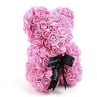 Мишка из 3D роз высотой 25см Светло-розовый