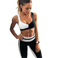 Спортивный костюм женский для фитнеса. Комплект лосины и топ для йоги, тренировок, размер L (черно-белый)