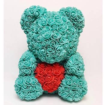 Мишко з 3D троянд висотою 40см Бірюзовий